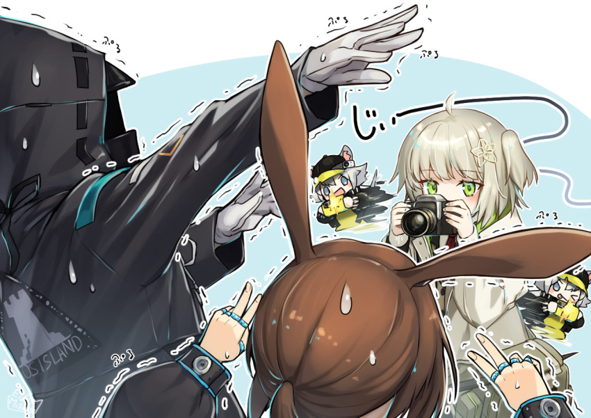 1other 3girls ahoge amiya_(arknights) animal_ears arknights baseball_cap black_headwear black_jacket blue_eyes brown_hair camera cellphone click_(arknights) doctor_(arknights) double_v gloves green_eyes grey_hair hair_ornament hat holding holding_camera holding_phone hood hood_up hooded_jacket jacket long_hair long_sleeves mitake_eil mouse_ears mouse_girl multiple_girls multiple_rings one_side_up open_mouth phone pose rabbit_ears rabbit_girl rhodes_island_logo scene_(arknights) short_hair silver_hair smartphone smile sweatdrop taking_picture thumb_ring trembling v white_gloves white_jacket