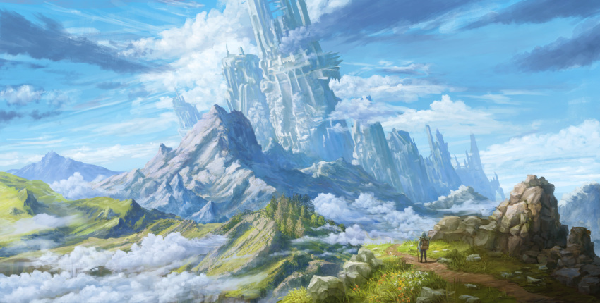 anoc backpack bag city clouds fantasy grass highres landscape mountain original outdoors path rock ruins scenery sky tree walking_stick
