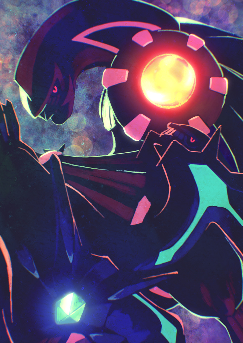 absurdres commentary dialga gem gen_4_pokemon glowing glowing_eyes glowing_markings higa-tsubasa highres huge_filesize legendary_pokemon lens_flare looking_at_viewer no_humans palkia pink_eyes pokemon pokemon_(creature) space