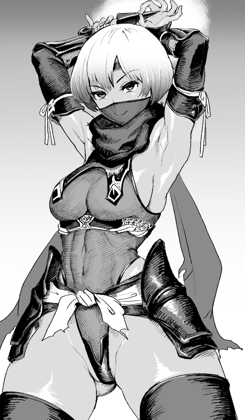 1girl arm_armor armor armpits arms_up bangs breasts closed_mouth covered_mouth covered_navel eyebrows_visible_through_hair gesogeso greyscale headgear highres holding holding_weapon japanese_clothes kunai looking_at_viewer medium_breasts monochrome ninja ninja_mask original scarf short_hair simple_background sleeveless smile solo weapon