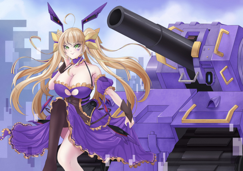 1girl blonde_hair breasts caterpillar_tracks clouds copyright_request day dress green_eyes ground_vehicle hair_ribbon highres long_hair military military_vehicle motor_vehicle ribbon shu.mu sky tank thigh-highs twintails