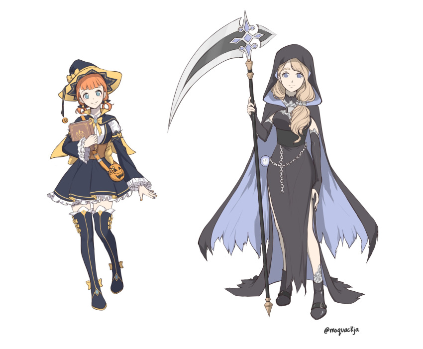 2girls annette_fantine_dominic black_cape black_choker black_dress black_footwear black_nails black_skirt black_sleeves blue_eyes boots bow bustier cape chain choker closed_mouth detached_sleeves dress fire_emblem fire_emblem:_three_houses full_body hair_ornament hair_over_shoulder hat hat_bow highres holding holding_scythe hood hood_up hooded layered_skirt long_dress long_hair long_sleeves looking_at_viewer low_twintails mercedes_von_martritz miniskirt moja_(moquackja) multiple_girls nail_polish orange_hair pleated_skirt scythe short_hair short_twintails side_slit silver_hair simple_background skirt skull_hair_ornament sleeveless sleeveless_dress smile tattoo thigh-highs thigh_boots twintails twitter_username white_background witch_hat yellow_bow zettai_ryouiki