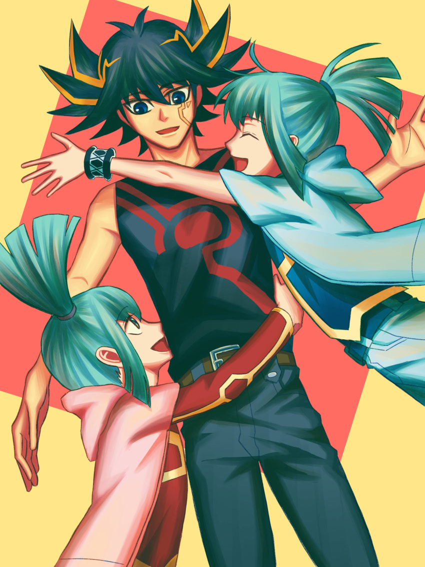 1girl 2boys :d bangs belt black_hair black_pants black_shirt blonde_hair blue_eyes bracelet brother_and_sister brown_belt closed_eyes commentary_request cowboy_shot dutch_angle eyebrows_visible_through_hair fudou_yuusei green_eyes green_hair hair_between_eyes highres hug jewelry looking_at_another lua luca_(yu-gi-oh!) medium_hair multicolored_hair multiple_boys noruuin open_mouth pants ponytail print_shirt red_background shirt short_hair siblings sleeveless sleeveless_shirt smile spiky_hair streaked_hair twins twintails two-tone_hair yellow_background yu-gi-oh! yu-gi-oh!_5d's |d