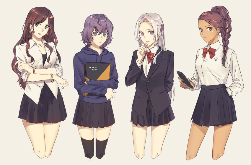 4girls :d alternate_costume arm_behind_back bangs bernadetta_von_varley black_legwear black_skirt bow bowtie bracelet braid braided_ponytail brown_hair cellphone closed_mouth collared_shirt cowboy_shot cropped_legs crossed_legs dark_skin dark_skinned_female dorothea_arnault dress_shirt earrings edelgard_von_hresvelg fire_emblem fire_emblem:_three_houses french_braid green_eyes hair_intakes hair_over_shoulder hair_ribbon hand_in_pocket highres holding holding_phone hood hood_down hooded_sweater jewelry long_hair looking_at_viewer miniskirt multiple_girls nanao_parakeet open_clothes open_mouth open_shirt pendant petra_macneary phone pleated_skirt ponytail purple_hair purple_ribbon red_bow red_neckwear ribbon school_uniform shiny shiny_hair shirt short_hair silver_hair skirt sleeves_past_wrists sleeves_rolled_up smartphone smile standing sweater swept_bangs thigh-highs very_long_hair violet_eyes white_shirt wing_collar zettai_ryouiki