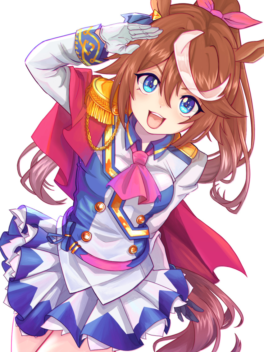 1girl :d animal_ears arm_behind_back ascot blue_eyes blue_jacket blue_skirt brown_hair buttons chromatic_aberration determined double-breasted dutch_angle ear_piercing epaulettes gloves hair_flaps hair_ribbon high_ponytail highres horse_ears horse_girl horse_tail jacket kamiyama_haru long_hair long_sleeves looking_at_viewer miniskirt multicolored_hair open_mouth piercing pink_neckwear pink_ribbon pleated_skirt ribbon salute simple_background skirt smile solo streaked_hair tail tokai_teio two-tone_hair two-tone_jacket two-tone_skirt umamusume upper_teeth v-shaped_eyebrows white_background white_gloves white_hair white_jacket white_skirt