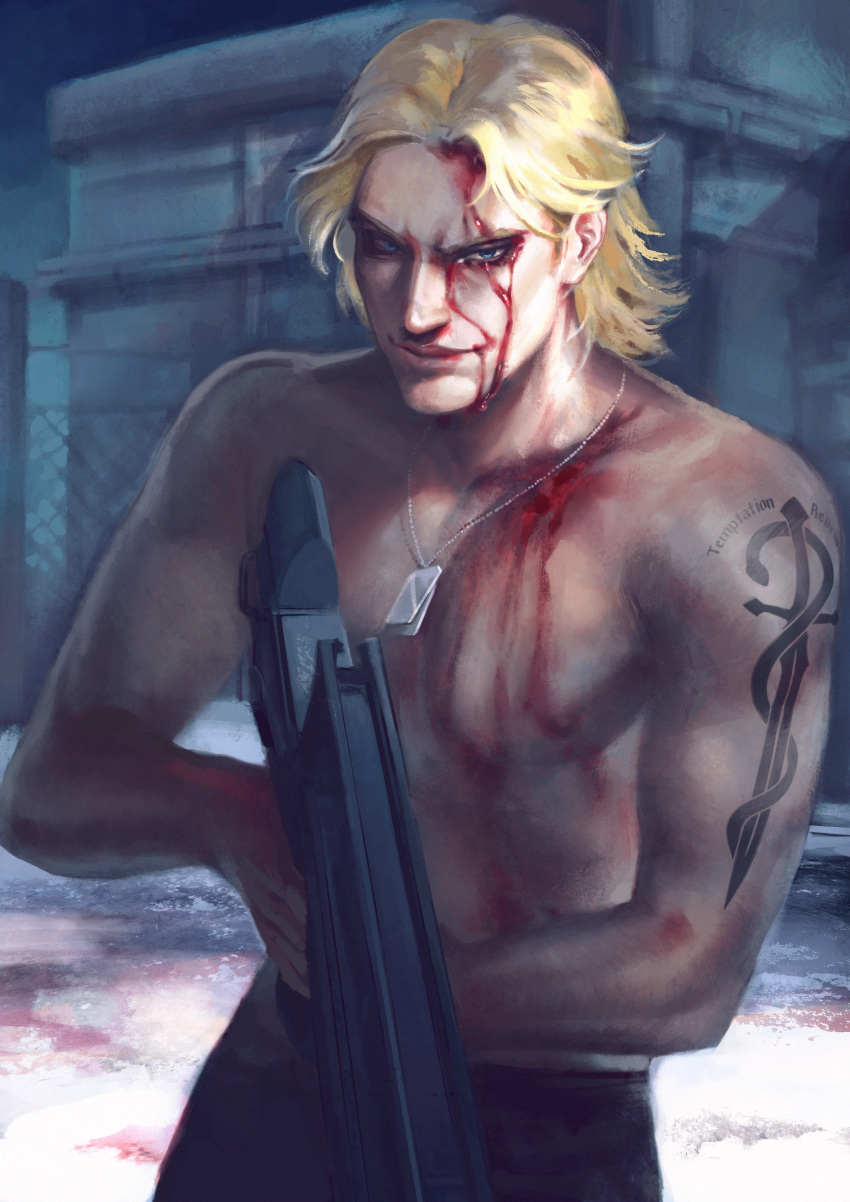 1boy absurdres arm_tattoo bleeding blonde_hair blood blood_on_face blood_on_snow blue_eyes building collarbone derivative_work dog_tags english_commentary fence gun highres holding holding_gun holding_weapon injury koi_fin liquid_snake male_focus metal_gear_(series) metal_gear_solid muscular muscular_male night night_sky outdoors realistic screencap_redraw shirtless short_hair sky smile snow solo tattoo weapon