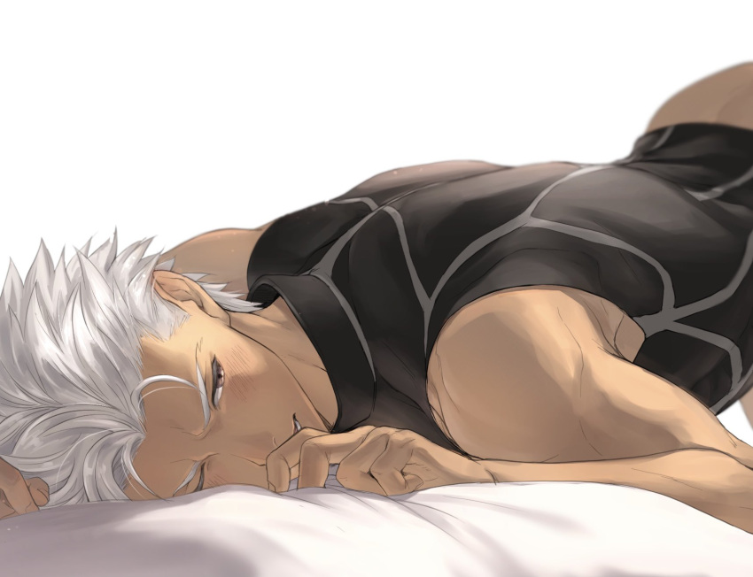 1boy archer bare_arms bed_sheet black_bodysuit blush bodysuit commentary_request dark_skin dark_skinned_male fate/stay_night fate_(series) grey_hair half-closed_eye highres lying male_focus mondi_hl muscular on_stomach one_eye_closed parted_lips short_hair solo toned toned_male white_background