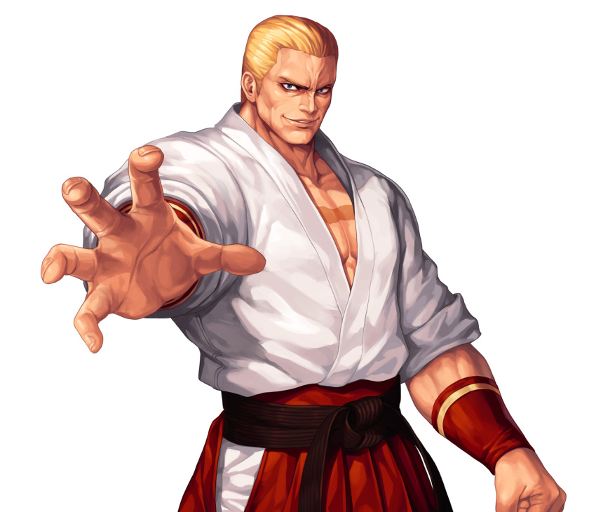 1boy arm_at_side blonde_hair blue_eyes collarbone commentary_request cowboy_shot dougi evilgun fatal_fury fingernails geese_howard hakama highres japanese_clothes looking_at_viewer male_cleavage male_focus outstretched_arm parted_lips pectorals red_hakama short_hair simple_background smile smirk solo standing the_king_of_fighters the_king_of_fighters_'96 white_background