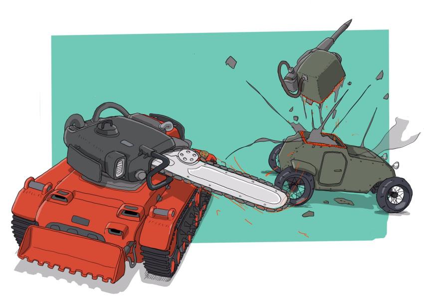 caterpillar_tracks chainsaw explosion gatling_san_tohei ground_vehicle highres military military_vehicle motor_vehicle no_humans original sliced smoke spikes tank tank_focus tank_turret vehicle_focus