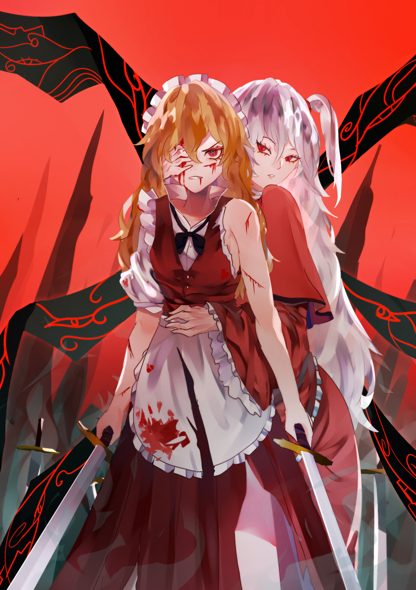 2girls absurdres angry apron bangs black_neckwear blonde_hair blood blood_on_face breasts capelet covering_another's_eye cowboy_shot cuts dress dual_wielding hair_between_eyes hair_bobbles hair_ornament highres holding holding_sword holding_weapon injury long_hair looking_at_another looking_at_viewer maid maid_apron maid_headdress multiple_girls naufaldreamer one_side_up parted_lips red_background red_capelet red_dress red_eyes shinki_(touhou) silver_hair simple_background small_breasts spire standing sword torn_clothes touhou touhou_(pc-98) v-shaped_eyebrows weapon white_apron white_headwear wide_sleeves wings yumeko_(touhou)