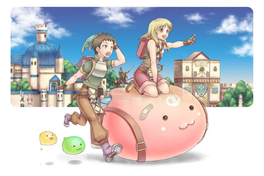 2boys 3girls :3 apron armor backpack bag bandaid blonde_hair blue_sky boobplate boots breastplate brown_dress brown_footwear brown_gloves brown_hair brown_pants brown_shirt brown_skirt building castle clouds crop_top cross dagger day dress drops_(ragnarok_online) gloves green_eyes green_headwear green_shirt hunter_(ragnarok_online) jacket long_hair maid maid_headdress mastering multiple_boys multiple_girls novice_(ragnarok_online) outdoors paladin_(ragnarok_online) pants pavianne_(ragnarok_online) pink_eyes pink_shorts pointing poporing purple_footwear purple_hair ragnarok_online retgra riding running scabbard sheath shirt short_sleeves shorts skirt skull sky sleeveless sleeveless_shirt slime_(creature) statue tree waving weapon white_apron white_jacket wristband