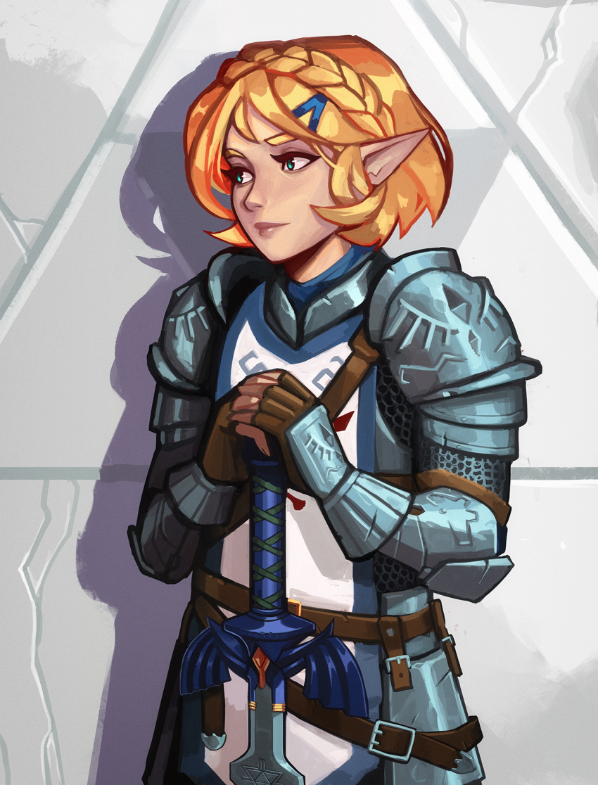 1girl against_wall armor belt blonde_hair braid brown_gloves chainmail crown_braid english_commentary faulds fingerless_gloves full_armor gauntlets gloves green_eyes hair_ornament hairclip highres lips master_sword nose pauldrons planted_sword planted_weapon plate_armor pointy_ears princess_zelda qt0ri short_hair shoulder_armor solo stone_wall sword tabard the_legend_of_zelda the_legend_of_zelda:_breath_of_the_wild the_legend_of_zelda:_breath_of_the_wild_2 thick_eyebrows wall weapon what_if
