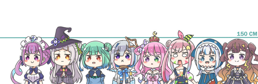 6+girls :d :o :x :| airani_iofifteen amane_kanata animal_hood anya_melfissa bangs black_capelet black_dress black_headwear blue_bow blue_dress blue_eyes blue_hair blue_hoodie blue_sleeves bow braid breasts brown_eyes brown_hair candy_hair_ornament capelet closed_mouth commentary_request crown detached_sleeves double_bun dress eyebrows_visible_through_hair food_themed_hair_ornament frilled_dress frills gawr_gura gradient_hair green_eyes green_hair grey_hair grey_jacket grey_shirt hair_bun hair_ornament hair_ribbon hair_rings hairband hat heterochromia highres himemori_luna hololive hololive_english hololive_indonesia hood hood_up hoodie jacket juliet_sleeves long_hair long_sleeves maid_headdress medium_breasts minato_aqua mini_crown multicolored_hair multiple_girls murasaki_shion open_mouth overalls parted_lips pink_dress pink_hair puffy_short_sleeves puffy_sleeves purple_hair red_eyes ribbon rutorifuki shark_hood sharp_teeth shirt short_sleeves side_bun simple_background sleeveless sleeveless_dress smile strapless strapless_dress striped striped_shirt teeth two-tone_hair two_side_up upper_body uruha_rushia v-shaped_eyebrows vertical-striped_shirt vertical_stripes very_long_hair violet_eyes virtual_youtuber white_background white_shirt witch_hat wrapped_candy