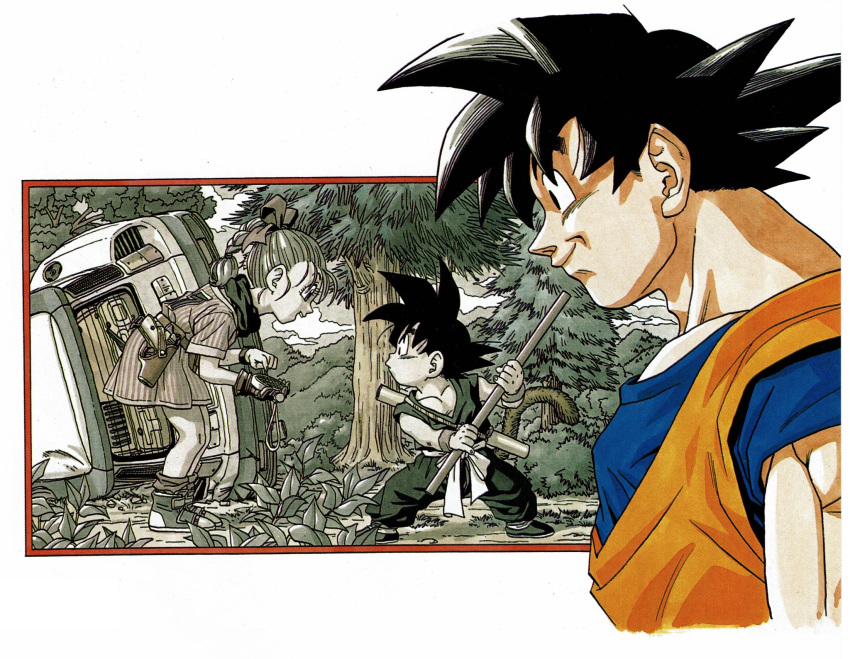 1girl 2boys arms_at_sides bent_over black_eyes black_hair blue_shirt boots border braid braided_ponytail brown_gloves bulma bush car closed_mouth clothes_writing clouds cloudy_sky collarbone cropped_torso damaged dougi dragon_ball dragon_ball_(classic) dragon_ball_z dragon_radar dress dual_persona eyelashes facing_away forest from_side frown gloves grass greyscale ground ground_vehicle gun hair_ribbon handgun happy highres holding holding_weapon holster looking_afar looking_at_another loose_socks monkey_tail monochrome motor_vehicle multiple_boys muscular nature nyoibo official_art orange_shirt partially_colored pectorals pine_tree pistol plant pointing profile red_border ribbon scarf shaded_face shirt short_dress single_glove sky smile socks son_goku spiky_hair striped striped_dress tail teeth toriyama_akira tree upper_teeth watch watch weapon white_border wrinkles younger