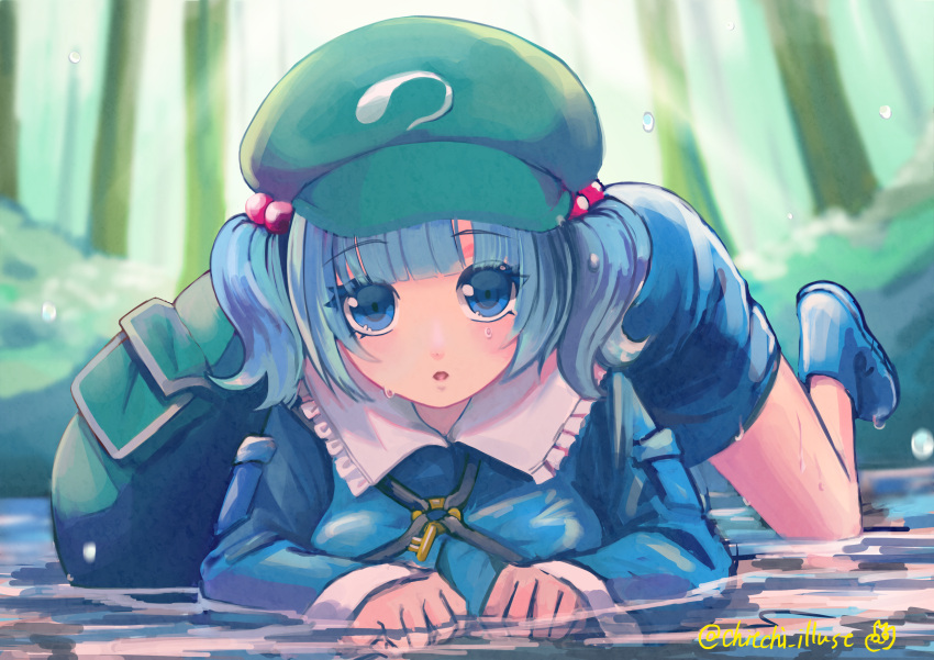 1girl :o absurdres all_fours backpack bag bangs blue_dress blue_eyes blue_footwear blue_hair blurry blurry_background blush breasts cabbie_hat commentary_request day dress eyebrows_visible_through_hair frilled_shirt_collar frills green_bag green_headwear hair_bobbles hair_ornament hat highres kawashiro_nitori key looking_at_viewer medium_breasts outdoors short_hair solo touhou tree two_side_up wet