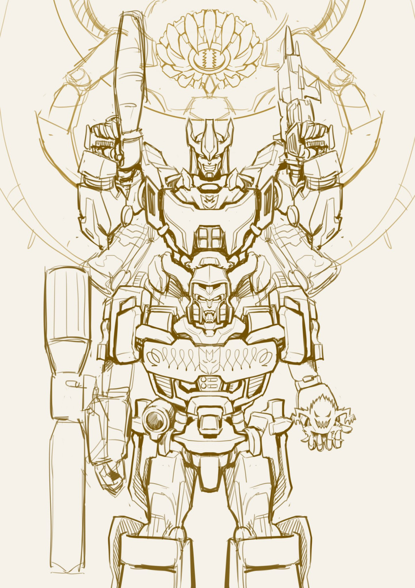 2boys arm_cannon clenched_hand ct990413 decepticon dual_wielding galvatron gun highres holding holding_gun holding_weapon looking_at_viewer mecha megatron monochrome multiple_boys no_humans open_hand science_fiction sketch smile the_transformers_(idw) transformers weapon