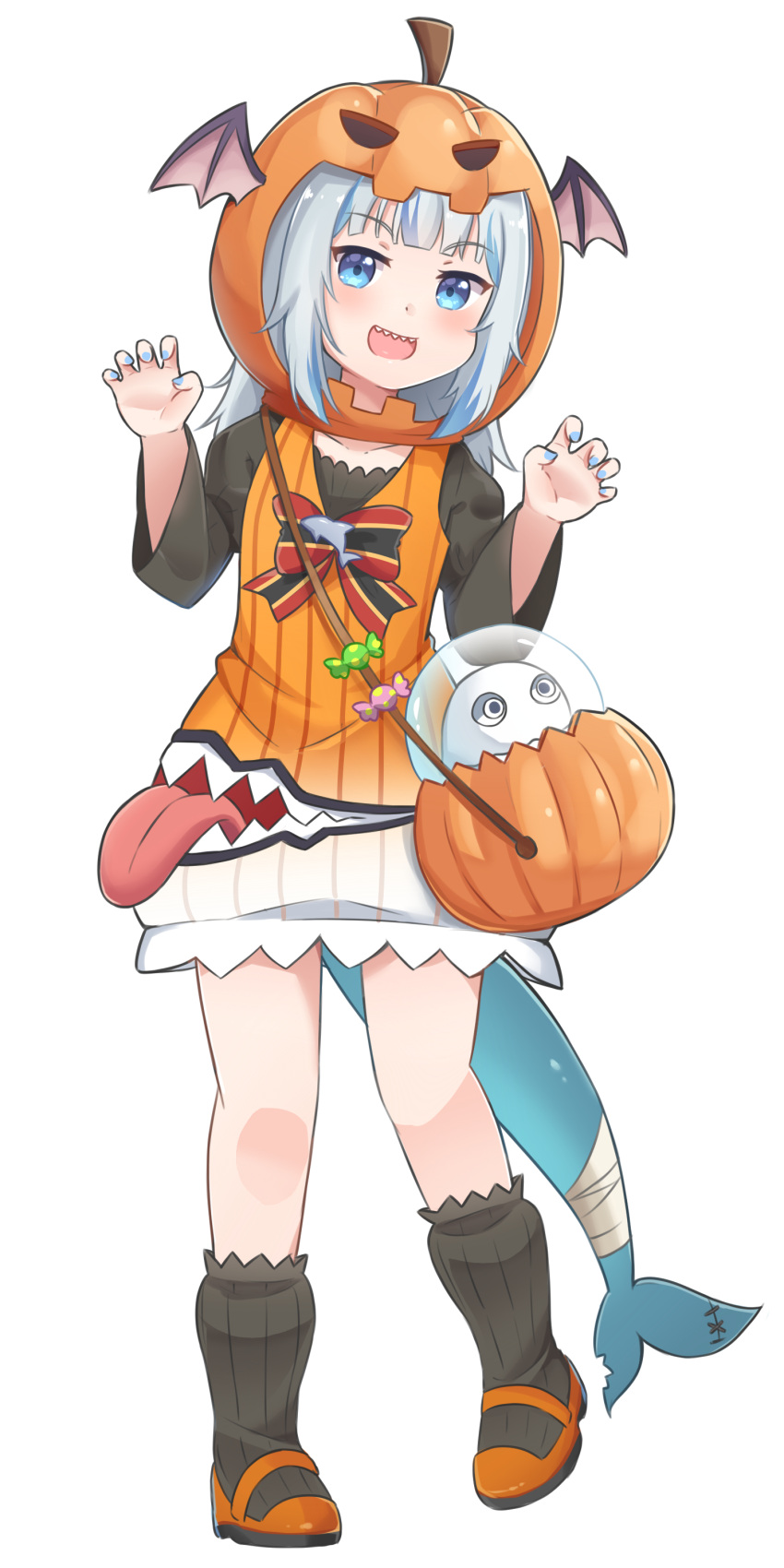1girl absurdres bag bangs black_legwear black_shirt bloop_(gawr_gura) blue_eyes blue_hair blue_nails bow claw_pose commentary dress eyebrows_visible_through_hair fish_tail gawr_gura grey_hair halloween halloween_bucket hands_up highres hololive hololive_english juliet_sleeves long_hair long_sleeves looking_at_viewer multicolored_hair orange_dress orange_footwear puffy_sleeves pumpkin_hat ribbed_legwear rutorifuki shark_tail shirt shoes shoulder_bag simple_background sleeveless sleeveless_dress socks streaked_hair striped striped_bow tail virtual_youtuber white_background wide_sleeves