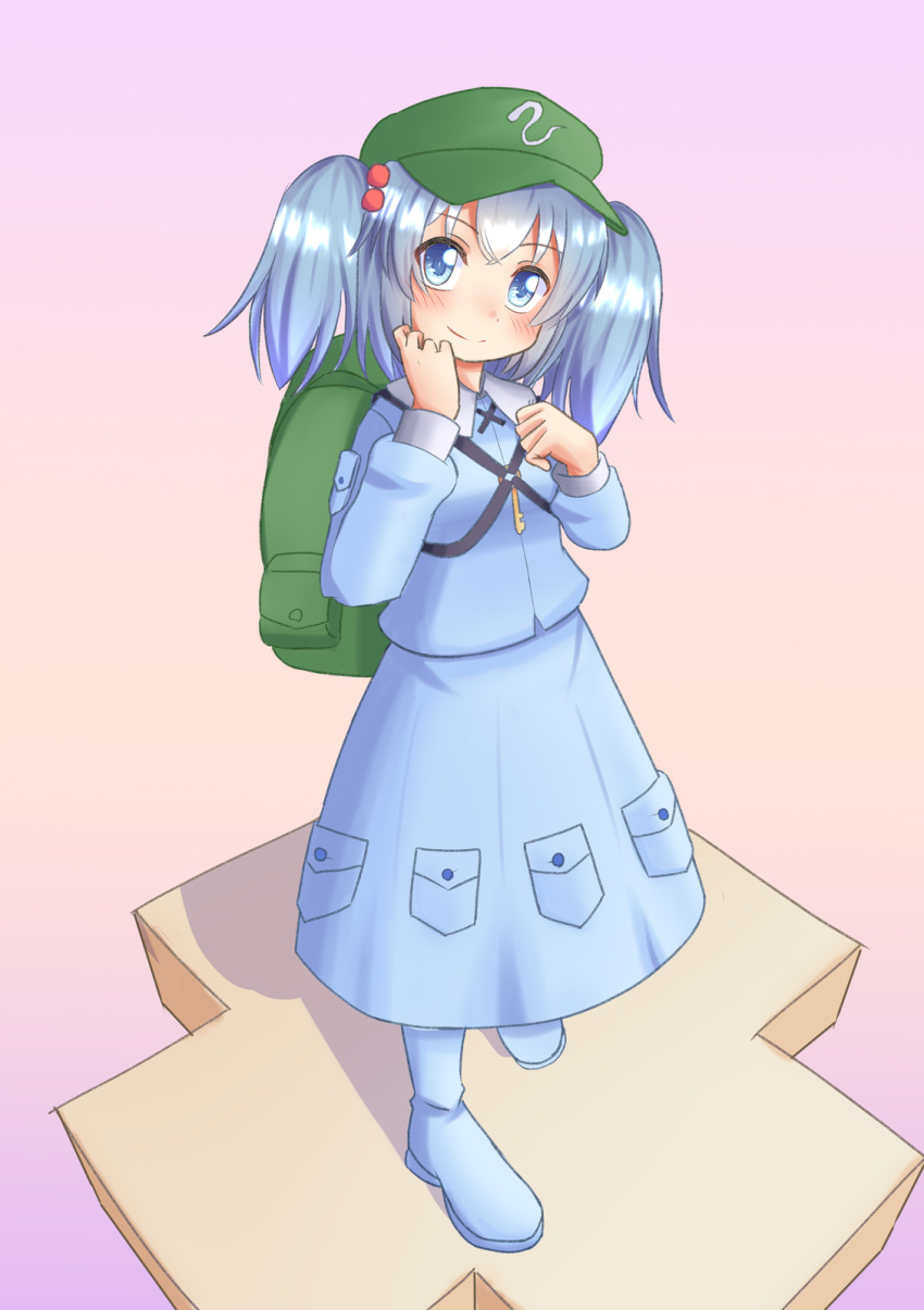 1girl backpack bag bangs blue_dress blue_eyes blue_footwear blue_hair blush boots breasts closed_mouth commentary_request dress eyebrows_visible_through_hair full_body green_bag green_headwear hair_bobbles hair_ornament hand_on_own_cheek hand_on_own_chest hand_on_own_face hat highres kawashiro_nitori key lettucesalad looking_at_viewer medium_hair pink_background simple_background small_breasts smile solo standing touhou two_side_up