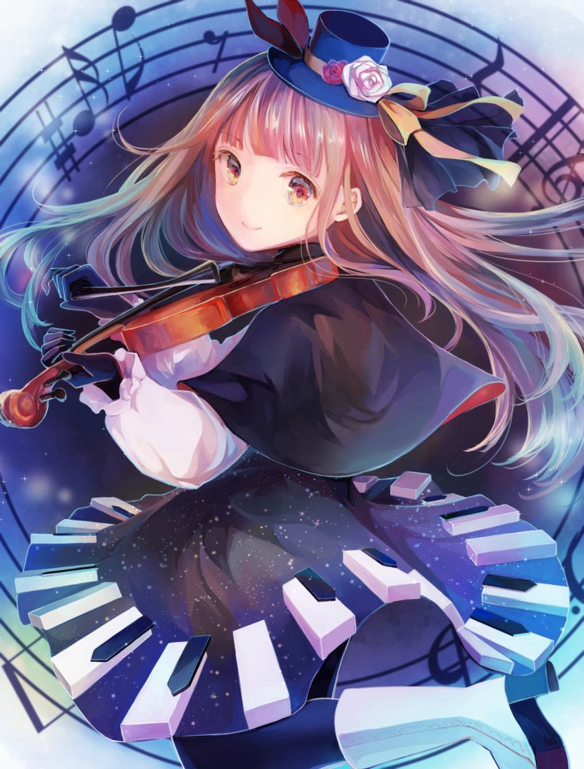 1girl bangs black_capelet black_gloves black_legwear black_skirt blue_headwear blunt_bangs boots brown_eyes brown_hair capelet deemo floating_hair flower from_side girl_(deemo) gloves hat hat_feather hat_flower hat_ribbon highres holding holding_instrument instrument leg_up long_hair looking_at_viewer medium_skirt mini_hat music pantyhose playing_instrument red_feathers red_flower ribbon rose shiny shiny_hair shirt skirt solo very_long_hair violin white_flower white_footwear white_shirt yellow_ribbon yukkering_(yukke)