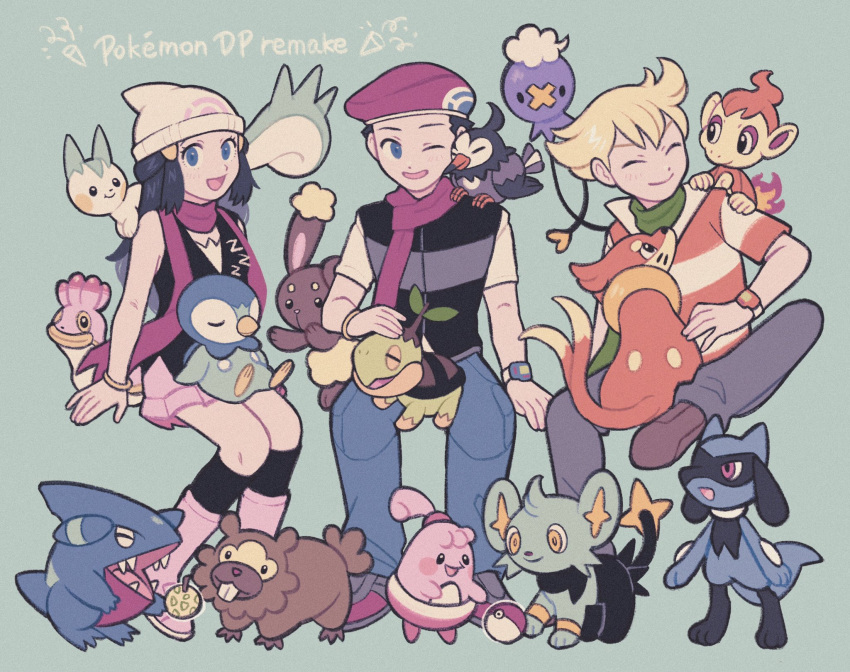 1girl 2boys bangs barry_(pokemon) beanie berry_(pokemon) bidoof black_hair black_legwear blonde_hair blue_eyes boots bracelet brown_footwear buizel buneary chimchar closed_eyes closed_mouth commentary_request copyright_name dawn_(pokemon) drifloon eyelashes fire flame gen_4_pokemon gible green_scarf grey_pants hair_ornament hairclip happiny hat highres invisible_chair jewelry light_blush long_hair lucas_(pokemon) mt_kkrd multiple_boys on_lap on_shoulder one_eye_closed open_mouth pachirisu pants pink_footwear piplup poke_ball poke_ball_(basic) pokemon pokemon_(creature) pokemon_(game) pokemon_dppt pokemon_on_lap pokemon_on_shoulder purple_headwear purple_scarf riolu scarf shellos shinx shoes short_hair short_sleeves sidelocks sitting sleeveless smile socks starly starter_pokemon tongue white_headwear