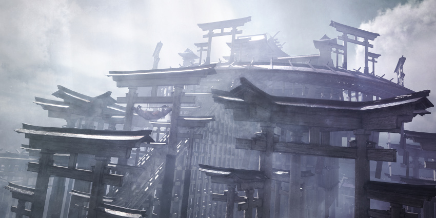 absurdres architecture building clouds cloudy_sky fantasy highres hisamesy huge_filesize muted_color no_humans original railing rope scenery shimenawa sky snow snowing stairs sunlight torii
