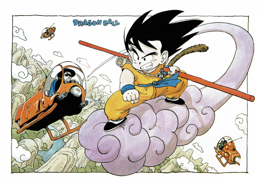 2boys 2others aircraft black_footwear black_hair black_headwear border clenched_hand clenched_teeth clothes_writing clouds cloudy_sky copyright_name dougi dragon_ball dragon_ball_(classic) dutch_angle facing_viewer fedora fighting_stance fingernails flying flying_nimbus formal frown ground_vehicle hat helicopter highres holding holding_weapon horizon landscape looking_afar male_focus messy_hair monkey_tail motor_vehicle mountain multiple_boys multiple_others nature nyoibo official_art outdoors perspective river shaded_face shadow shoes sky son_goku standing suit sunglasses tail teeth toriyama_akira tree v-shaped_eyebrows water weapon white_border wristband