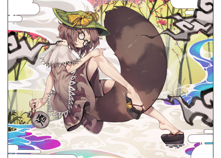 1girl :3 absurdres alcohol animal_ears bell black-framed_eyewear bottle bow brown_eyes brown_hair closed_mouth commentary_request full_body futatsuiwa_mamizou glasses hand_on_own_knee hat highres huge_filesize jingle_bell korean_commentary large_tail leaf leaf_on_head looking_to_the_side nyong_nyong okobo plantar_flexion platform_footwear raccoon_ears raccoon_girl raccoon_tail round_eyewear short_hair sideways_glance skirt smile smoke solo tail tanuki tokkuri touhou whorled_clouds