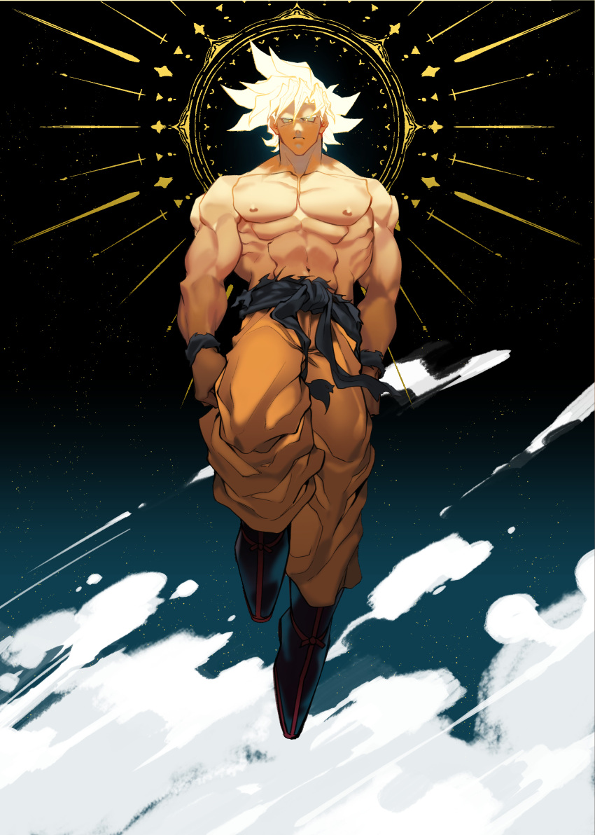 1boy abs absurdres belt blonde_hair dragon_ball dragon_ball_super expressionless floating full_body glowing glowing_hair highres large_pectorals looking_at_viewer male_focus muscular muscular_male nipples orange_pants oro_kkbj shirtless short_hair sky solo son_goku spiky_hair star_(sky) starry_sky stomach ultra_instinct