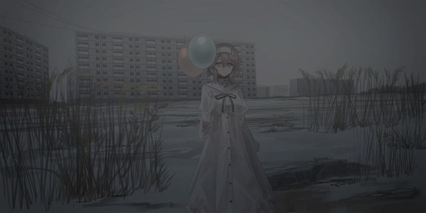 1girl balloon black_ribbon blue_eyes breasts brown_hair building chihuri closed_mouth clouds cloudy_sky dress hairband highres holding holding_balloon juliet_sleeves long_hair long_sleeves looking_at_viewer medium_breasts neck_ribbon original outdoors overcast puffy_sleeves renata_alekseevna_tsvetaeva ribbon sky snow solo standing white_dress white_hairband wide_sleeves