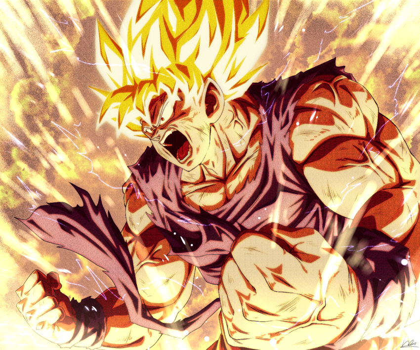 1boy angry aura bare_arms bare_shoulders biceps blonde_hair clenched_hands collarbone derivative_work dougi dragon_ball dragon_ball_z fighting_stance foreshortening frown glowing glowing_hair looking_to_the_side male_cleavage male_focus mature_male muscular muscular_male open_mouth pectorals sekitsuki_hayato shirt short_hair sleeveless solo son_goku spiky_hair super_saiyan super_saiyan_1 torn_clothes torn_shirt upper_body veins