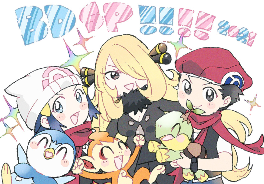 1boy 2girls :d beanie black_hair blonde_hair blush_stickers chimchar closed_mouth commentary_request copyright_name cynthia_(pokemon) dawn_(pokemon) fur_collar gen_4_pokemon grey_eyes hair_ornament hat holding holding_pokemon looking_at_viewer lucas_(pokemon) mope multiple_girls open_mouth piplup pokemon pokemon_(creature) pokemon_(game) pokemon_bdsp red_headwear red_scarf scarf short_hair short_sleeves smile sparkle starter_pokemon_trio turtwig white_headwear