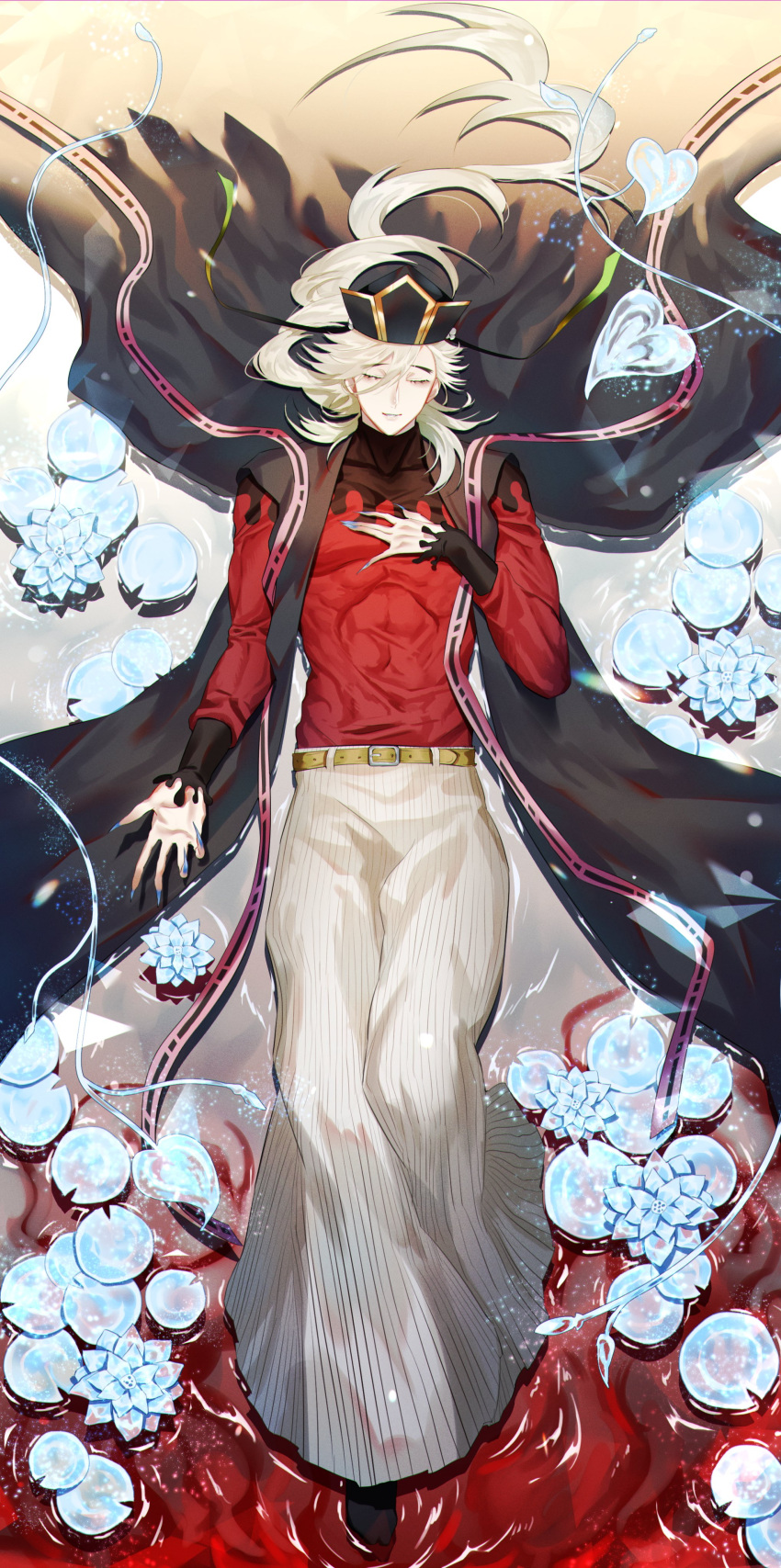 1boy absurdres bangs belt bishounen black_cape black_headwear black_legwear black_sleeves blonde_hair blood blood_in_water blue_nails brown_belt cape closed_eyes collarbone commentary_request demon_boy douma_(kimetsu_no_yaiba) ears eyebrows_visible_through_hair eyelashes fingernails floating floating_hair flower frozen_flower gold_trim gradient_hair gradient_hat hair_between_eyes hair_over_shoulder hakama hand_on_own_chest headdress highres ice japanese_clothes kimetsu_no_yaiba leaf leg_up light light_particles light_rays light_smile lily_pad lins_sana lips long_hair long_sleeves lotus male_focus multicolored multicolored_clothes multicolored_hair open_hand parted_bangs pectorals petals petals_on_liquid relaxed shiny shiny_hair sleeves_past_elbows solo splatter_print sunbeam sunlight tabard tabi tall tassel thick_eyebrows thick_thighs thighs tight_top toned toned_male traditional_clothes very_long_fingernails wavy_hair white_hakama wide_hips
