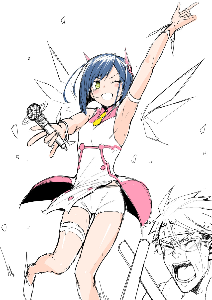 1boy 1girl :d \m/ absurdres alternate_costume arm_up armband armpits bangs blue_hair blush bracelet breasts chicke_iii closed_eyes commentary crying dancing darling_in_the_franxx detached_wings furrowed_eyebrows glasses gorou_(darling_in_the_franxx) green_eyes grin hair_ornament hair_strand headband highres holding holding_microphone ichigo_(darling_in_the_franxx) idol index_finger_raised jewelry leg_up legband light_stick microphone one_eye_closed open_mouth outstretched_arm over-rim_eyewear partially_colored pink_shirt semi-rimless_eyewear shirt shoes short_hair short_shorts shorts sleeveless small_breasts smile swept_bangs tears thigh_gap translated two-tone_shirt white_shirt white_shorts wings