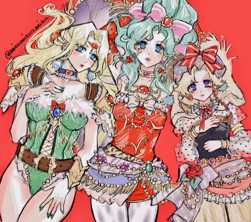 3girls animal_print arms_up belt beret blonde_hair blue_eyes bow breasts brown_belt celes_chere choker circlet collarbone cross-laced_clothes earrings eyelashes eyeshadow final_fantasy final_fantasy_vi fingernails flower frilled_choker frills fur-trimmed_leotard fur_trim gem green_leotard green_nails hair_bow hair_intakes hand_on_own_chest hand_on_own_thigh hat hat_bow heart heart_choker highres jewelry juliet_sleeves leaf leotard light_green_hair long_hair long_sleeves makeup medium_breasts multiple_girls nail_polish pantyhose parted_lips pink_bow pink_lips polka_dot polka_dot_sleeves poririna puffy_sleeves purple_choker purple_headwear red_background red_eyeshadow red_flower red_ribbon red_rose relm_arrowny ribbon rose see-through see-through_sleeves short_hair striped striped_bow thigh_gap thighs tiger_print tina_branford twitter_username violet_eyes yellow_choker