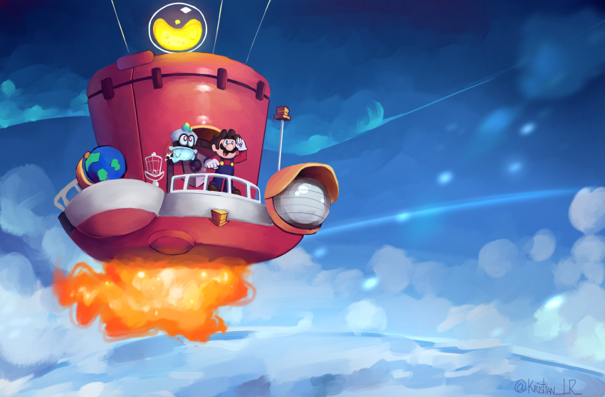 2boys absurdres aircraft airship big_nose blue_sky brown_hair cappy_(mario) cristianlr facial_hair flying ghost_tail globe gloves highres mario mario_(series) midair multiple_boys mustache overalls sky smile standing super_mario_odyssey white_gloves