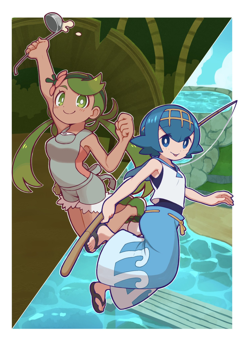 2girls arm_up bangs bare_arms blue_eyes blue_hair blue_pants bright_pupils clenched_hand closed_mouth commentary eyebrows_visible_through_hair eyelashes fishing_rod flip-flops flower green_eyes green_footwear green_hair hair_flower hair_ornament hairband highres holding holding_fishing_rod holding_ladle ladle lana_(pokemon) light_blush long_hair looking_at_viewer mallow_(pokemon) multiple_girls one-piece_swimsuit overalls pants pokemon pokemon_(game) pokemon_sm rudosan sailor_collar sandals shirt shoes short_hair sleeveless sleeveless_shirt smile swept_bangs swimsuit swimsuit_under_clothes tongue tongue_out trial_captain twintails water yellow_hairband