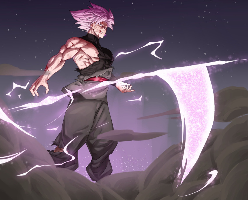 1boy blood blood_from_mouth dougi dragon_ball dragon_ball_super earrings energy_weapon evil_smile feet_out_of_frame floating floating_object floating_weapon goku_black grin highres injury jewelry long_sleeves male_focus mo_(db_momo_gb) muscular muscular_male no_nipples pants pectorals pink_hair scythe shirt single_bare_shoulder smile smoke solo spiky_hair super_saiyan super_saiyan_rose torn_clothes torn_pants torn_shirt wind