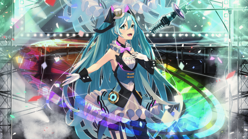 1girl aqua_hair black_legwear blue_eyes blue_vest bow bowtie breasts collar commentary confetti cowboy_shot dress english_commentary frilled_collar frilled_dress frills gloves hair_between_eyes hand_on_own_chest hat hatsune_miku highres light_rays long_hair looking_at_viewer magical_mirai_(vocaloid) microphone mini_hat mini_top_hat mismatched_legwear music open_mouth outstretched_arm pink_bow pink_neckwear rainbow_order screen singing sleeveless sleeveless_dress small_breasts smile solo stage stage_lights striped striped_legwear t-one top_hat two-tone_legwear vertical-striped_legwear vertical_stripes very_long_hair vest vocaloid white_dress white_gloves white_headwear white_legwear wrist_cuffs
