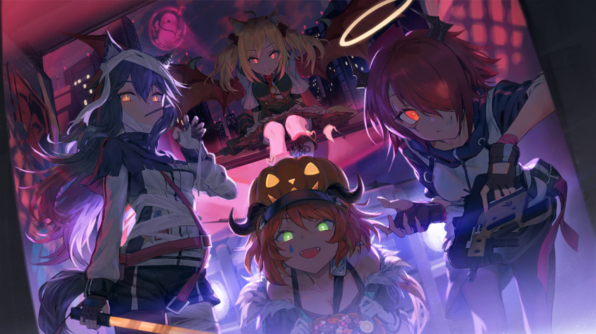 4girls animal_ears arknights bandaged_hand bandaged_head bandages bare_shoulders black_gloves black_hair blonde_hair boots breasts bucket candy city croissant_(arknights) demon_wings ecien exusiai_(arknights) fingerless_gloves fog food food_in_mouth fox_ears gloves green_eyes gun halloween halloween_bucket halo hand_up holding holding_bucket holding_gun holding_sword holding_weapon horns jack-o'-lantern long_hair looking_at_viewer multiple_girls open_mouth orange_eyes orange_hair pantyhose penguin_logistics_(arknights) pocky red_eyes redhead short_hair shorts sitting smile sora_(arknights) sword tail texas_(arknights) twintails visor_cap weapon wings wolf_ears wolf_tail