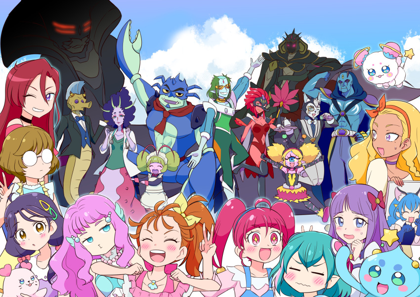 +_+ 6+boys 6+girls :d ;d =_= abs ahoge amamiya_erena antennae aqua_hair armor armpits asdge23 bakenyan_(precure) bangs biceps black_eyes blonde_hair blue_eyes blue_skin blue_sky blunt_bangs blush brown_eyes bubble_skirt butler_(precure) cat cat_boy character_request chongy_ray closed_mouth clouds colored_sclera colored_skin commentary_request constricted_pupils crab_boy cyclops dancing day elbow_gloves embarrassed eyebrows_visible_through_hair eyewon_(precure) facing_viewer fan fang fangs fins flexing furry fuwa_(precure) garouga_(precure) giant giantess glasses gloves glowing glowing_eyes hagoromo_lala hair_bobbles hair_ornament hair_over_shoulder hair_strand head_fins heart heart_in_eye helmet highres holding horns hoshina_hikaru ichinose_minori jumping kaguya_madoka kappard_(precure) kururun_(precure) laura_(precure) leotard long_hair looking_at_viewer looking_back low_twintails maid mask medium_hair mermaid monster_boy monster_girl multicolored_hair multiple_boys multiple_girls muscular muscular_male natsuumi_manatsu no_sclera o3o one-eyed one_eye_closed open_mouth ophiuchus_(precure) pink_eyes pink_hair pointy_ears ponytail portrait_(object) pose precure prunce_(precure) puckered_lips purple_hair purple_skin red_leotard red_skin redhead round_eyewear round_teeth sea_slug seahorse seal short_eyebrows short_hair shrimp side_ponytail size_difference skirt sky slug_girl smile star_twinkle_precure streaked_hair surprised suzumura_sango sweatdrop symbol-shaped_pupils symbol_in_eye tail_fin takizawa_asuka teeth tengu tengu_mask tenjou_(precure) the_witch_of_delays thick_eyebrows third_eye triangle_hair_ornament tropical-rouge!_precure twintails upper_teeth violet_eyes wavy_mouth white_hair yellow_sclera yuni_(precure)