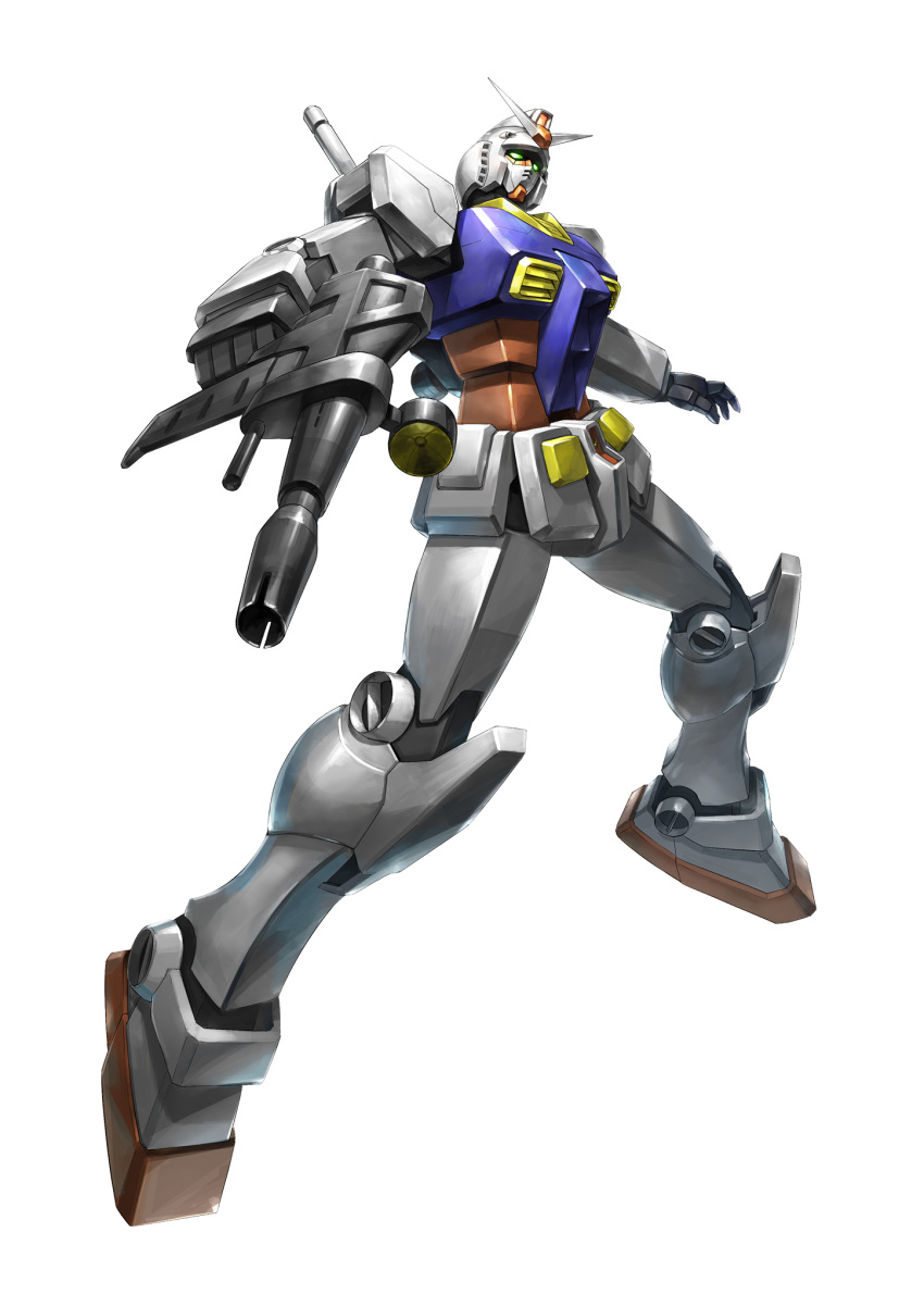 beam_rifle energy_gun floating foreshortening green_eyes gun gundam head_tilt highres holding holding_gun holding_weapon looking_up mecha mobile_suit mobile_suit_gundam no_humans open_hand rx-78-2 science_fiction solo souto_(0401) weapon white_background