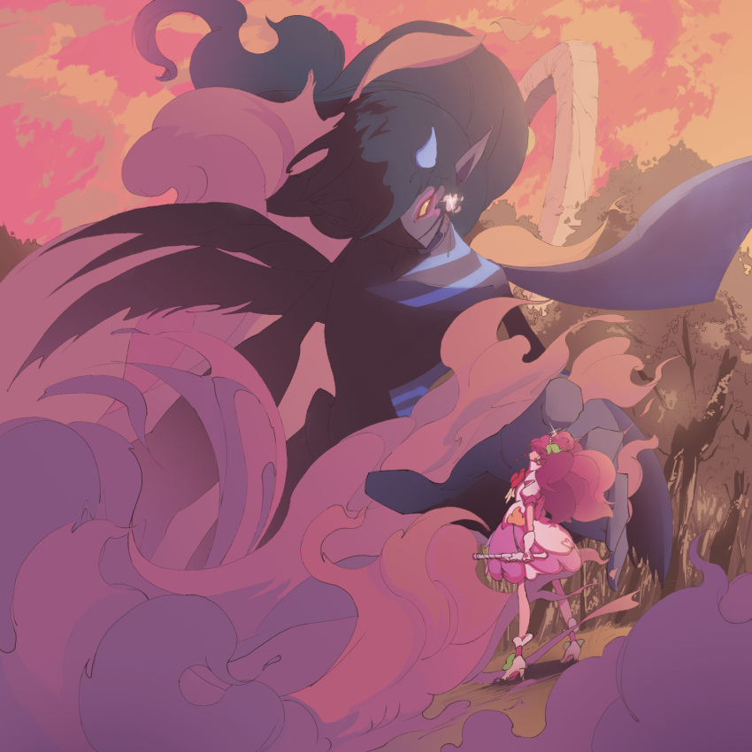 1boy 1girl black_hair black_skin boots building clouds cloudy_sky colored_skin commentary_request cure_grace daruizen demon demon_wings dress earrings evening facepaint floating_hair forest from_side giant grass hair_leaf hair_ornament hanadera_nodoka healin'_good_precure healing_animal healing_wand heart heart_hair_ornament high_heel_boots high_heels highres horns jewelry konno_thunder_mcqueen leaf_earrings long_hair looking_at_another magical_girl multiple_wings nature no_sclera outdoors pink_dress pink_footwear pink_hair pink_sky pointy_ears precure rabirin_(precure) scenery sky smoke sparkle spoilers standing tiara tree twilight very_long_hair wings yellow_eyes