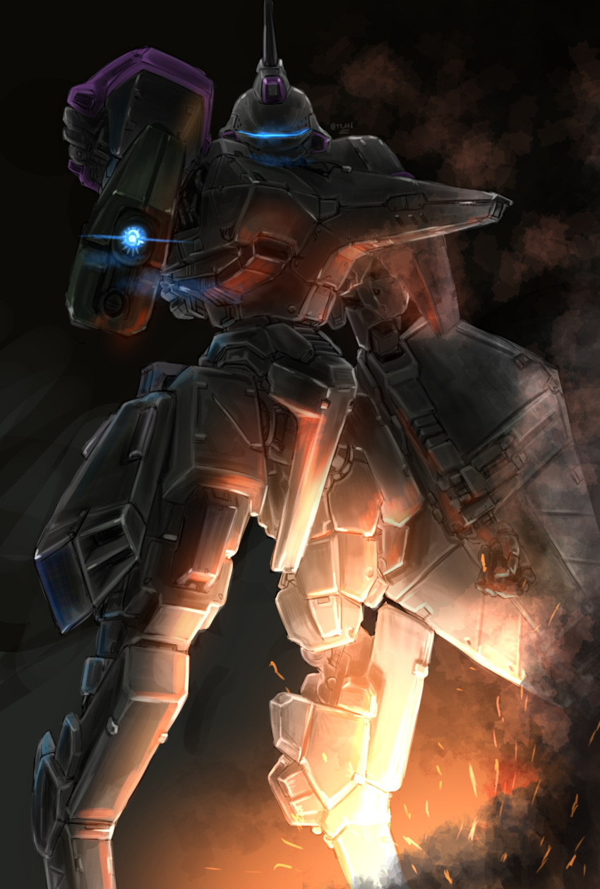 aiming_at_viewer armored_core embers glowing gun highres holding holding_gun holding_shield holding_weapon looking_at_viewer looking_down mecha no_humans oberon826 science_fiction shield solo visor vixen_(armored_core) weapon