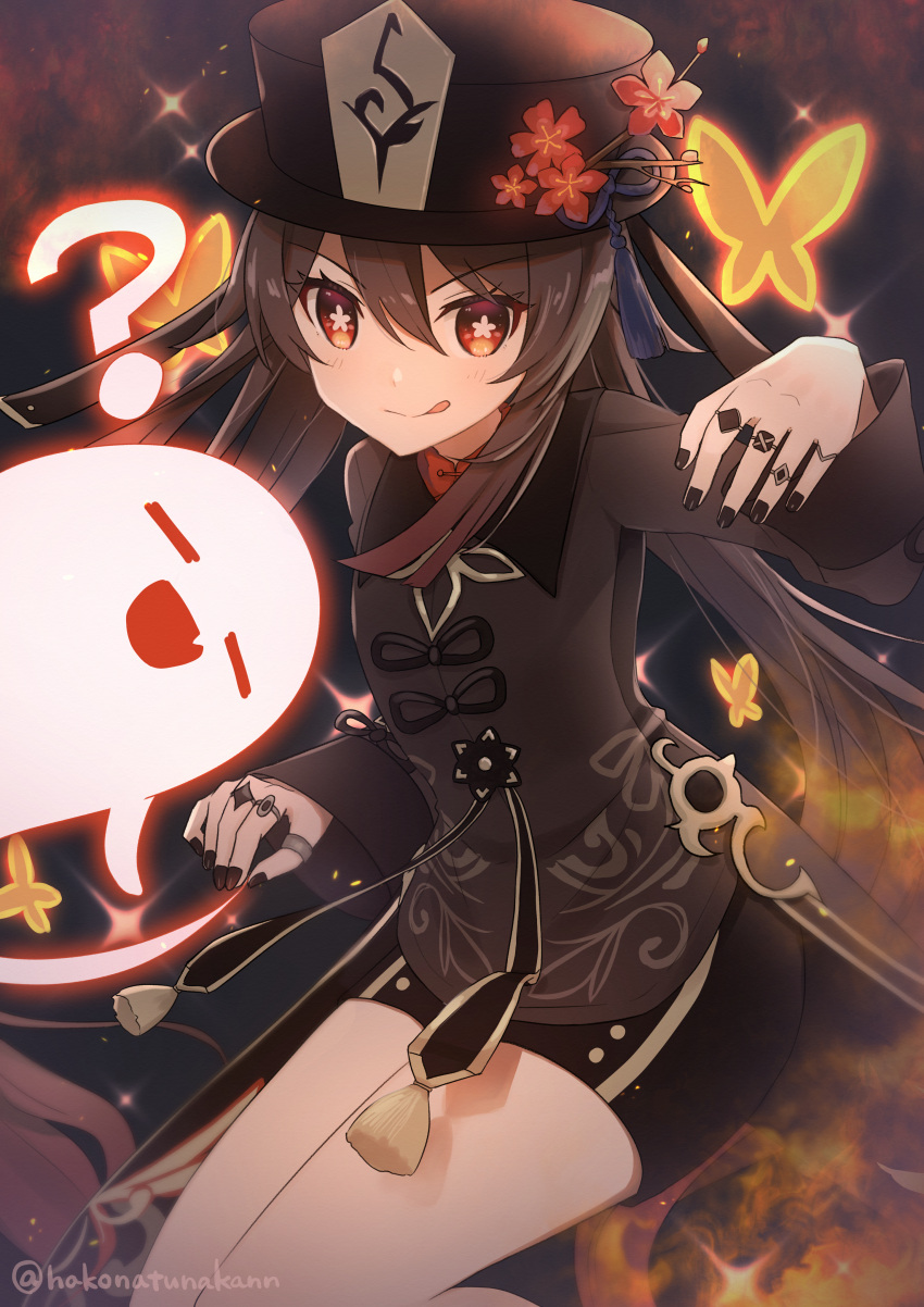 1girl :q =_= ? absurdres artist_name black_headwear black_nails brown_hair bug butterfly closed_eyes closed_mouth commentary_request diffraction_spikes fang flower flower-shaped_pupils genshin_impact ghost hair_between_eyes hakonatunakann hand_up hat hat_flower hat_ornament highres hu_tao huge_filesize insect jewelry long_hair long_sleeves mandarin_collar multiple_sources nail_polish open_mouth plum_blossoms red_eyes red_flower ring shorts skin_fang smile solo symbol-shaped_pupils tassel thumb_ring tongue tongue_out twintails very_long_hair