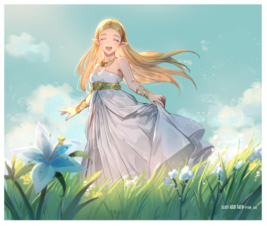 1girl anniversary artist_name azutarou bangle bangs blonde_hair blue_flower blue_sky blurry blurry_foreground blush bracelet breasts closed_eyes clouds cloudy_sky commentary cowboy_shot day dress english_text flower gold grass jewelry long_hair looking_at_viewer necklace open_mouth outdoors parted_bangs pointy_ears princess_zelda silent_princess skirt_hold sky small_breasts smile solo standing straight_hair strapless strapless_dress sunlight the_legend_of_zelda the_legend_of_zelda:_breath_of_the_wild thick_eyebrows twitter_username white_dress wind