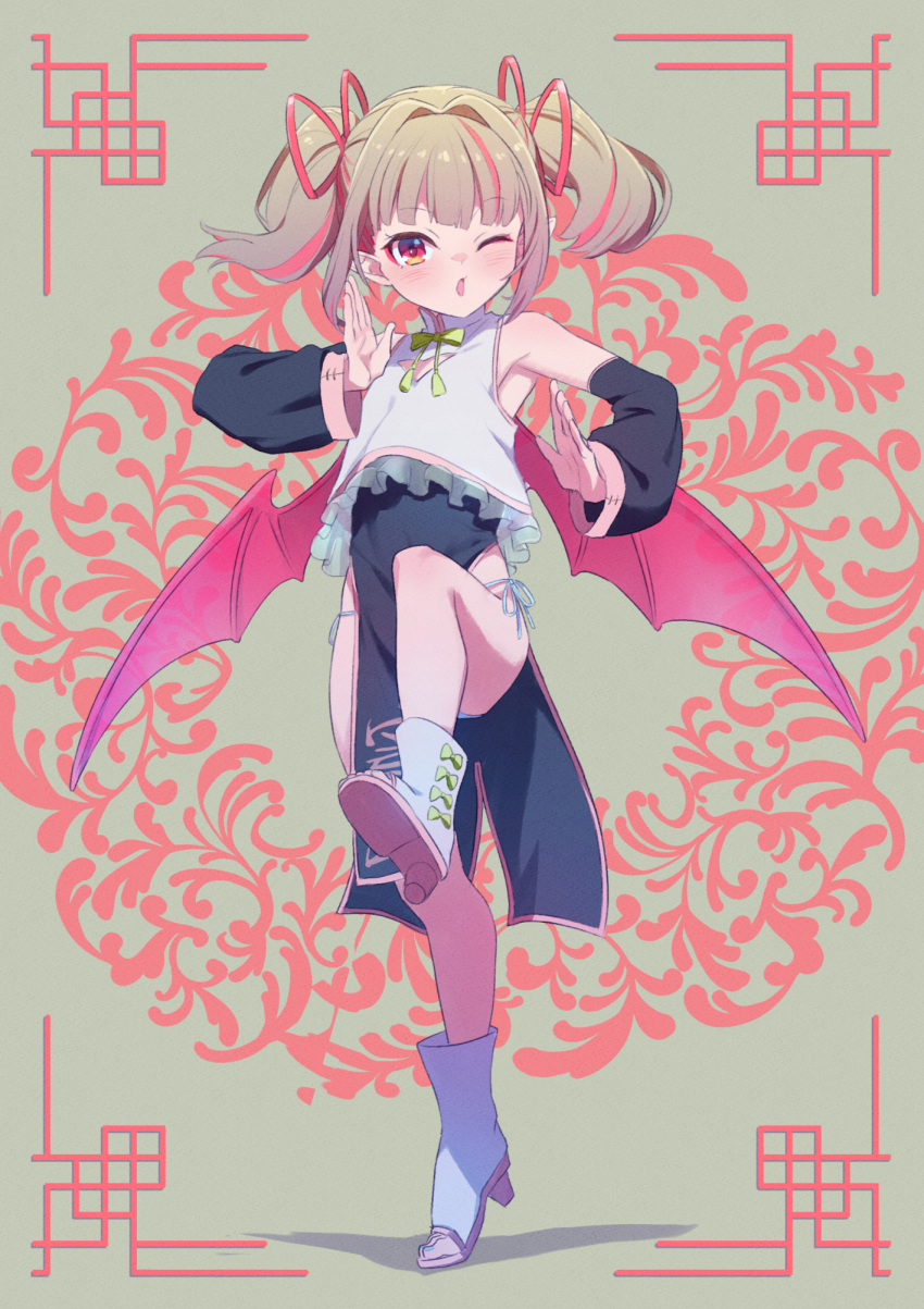 1girl armpits bare_shoulders blush boots bow bowtie china_dress chinese_clothes commentary_request demon_girl demon_wings detached_sleeves dress eyebrows_visible_through_hair fighting_stance frilled_dress frills full_body grey_hair hair_intakes high_heel_boots high_heels highres leg_up makaino_ririmu medium_hair multicolored_hair nijisanji one_eye_closed open_mouth panties panty_peek patterned_background pelvic_curtain pink_hair pointy_ears red_eyes red_wings sabamen side-tie_panties sidelocks solo standing standing_on_one_leg toeless_footwear twintails two-tone_hair underwear virtual_youtuber wings
