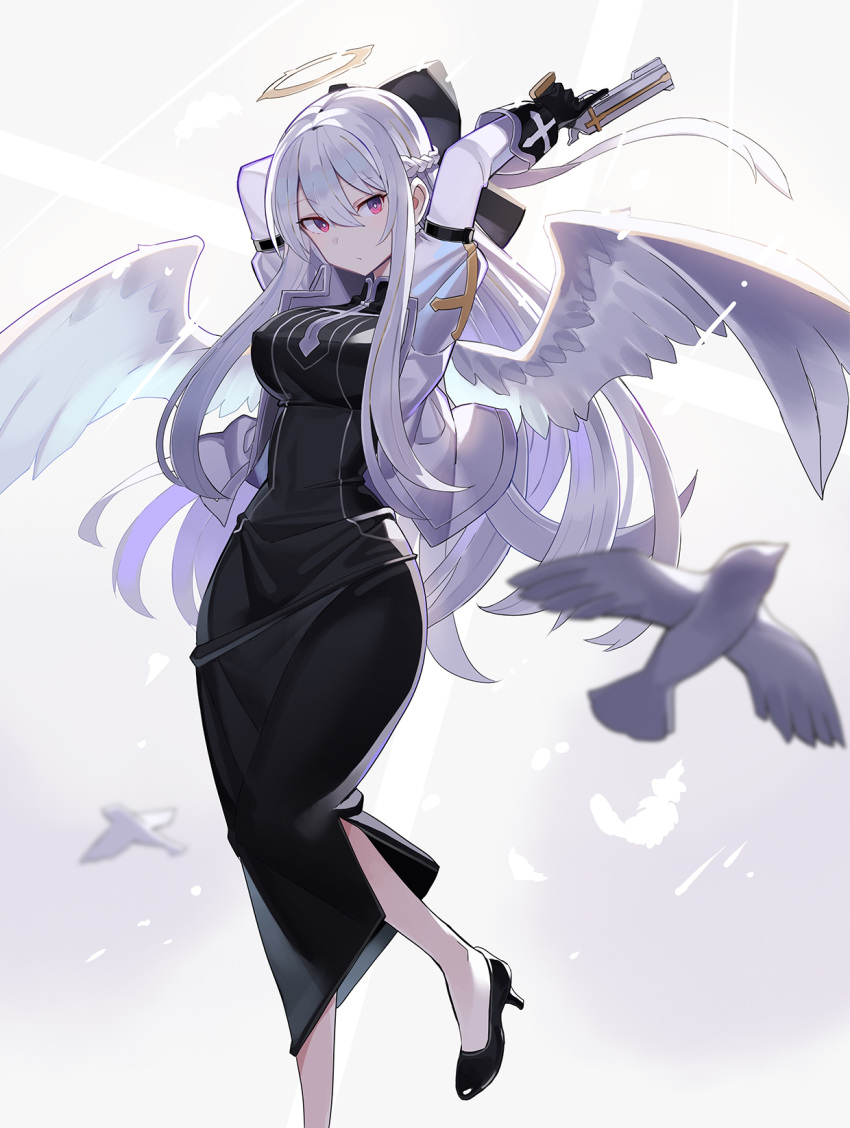 1girl angel angel_wings arms_up bangs bird black_dress black_footwear black_gloves braid breasts bright_pupils cross dress eyebrows_visible_through_hair feathered_wings feathers foot_out_of_frame gloves gun hair_between_eyes halo handgun high_heels highres holding holding_gun holding_weapon jacket juliet_sleeves large_breasts long_hair long_sleeves looking_to_the_side open_clothes open_jacket original pistol puffy_sleeves red_eyes rin_falcon sidelocks silver_hair solo strapless strapless_dress trigger_discipline tube_dress very_long_hair weapon white_hair white_jacket white_pupils white_wings wings