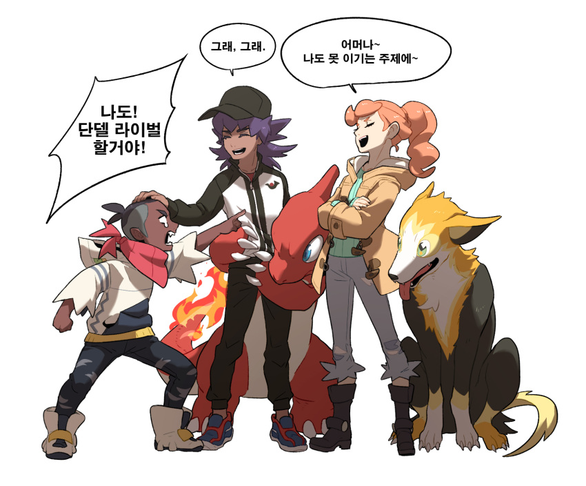 1girl 2boys bangs baseball_cap black_footwear black_headwear black_pants boltund boots brown_hair charmeleon clenched_hand closed_eyes coat commentary_request crossed_arms dark_skin dark_skinned_male duraludon eyelashes gen_1_pokemon gen_8_pokemon hand_on_another's_head hat highres hood hood_down hoodie jacket korean_commentary korean_text leon_(pokemon) long_hair long_sleeves multiple_boys neckerchief open_clothes open_coat open_mouth orange_hair pants pointing pokemon pokemon_(creature) pokemon_(game) pokemon_swsh purple_hair raihan_(pokemon) redlhzz shoes simple_background smile sonia_(pokemon) speech_bubble standing teeth undercut white_background younger zipper_pull_tab  d