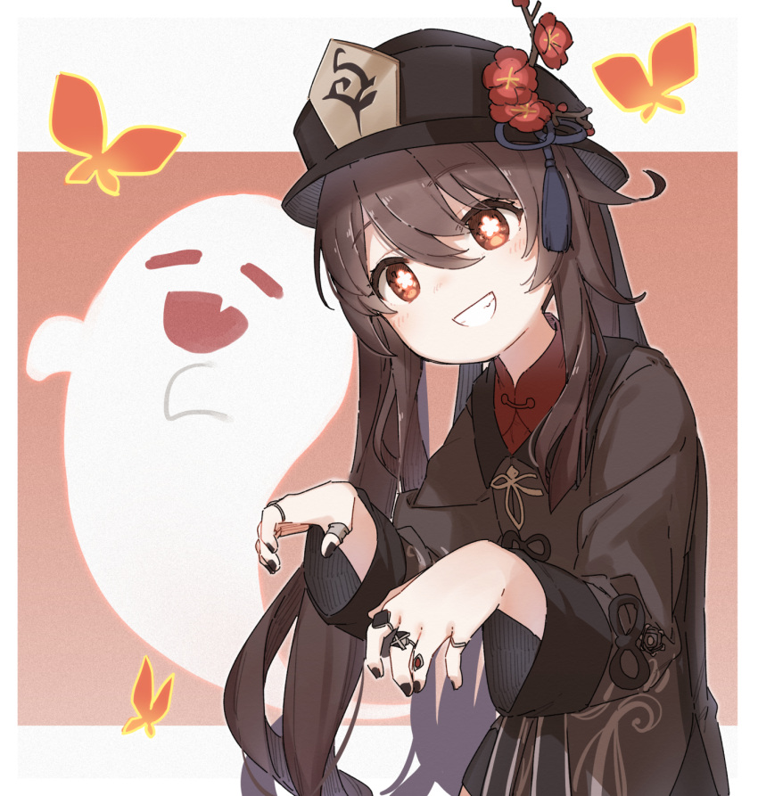 1girl :d =_= bangs black_dress black_headwear black_nails brown_eyes brown_hair closed_eyes commentary_request dress eyebrows_visible_through_hair fang flower flower-shaped_pupils genshin_impact ghost grin hair_between_eyes hat highres hu_tao jewelry long_hair long_sleeves looking_at_viewer nail_polish open_mouth red_flower red_shirt ring shirt smile solo upper_body very_long_hair yukie_(kusaka_shi)