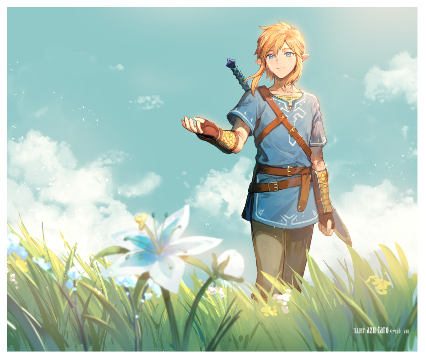 1boy artist_name azutarou black_pants blonde_hair blue_eyes blue_flower blue_shirt blue_sky closed_mouth clouds cloudy_sky commentary cowboy_shot day english_text fingerless_gloves flower gloves grass light_smile link outdoors outstretched_arm pants pointy_ears shirt short_hair sidelocks silent_princess sky smile solo standing strap sunlight sword the_legend_of_zelda the_legend_of_zelda:_breath_of_the_wild twitter_username vambraces weapon weapon_on_back wind
